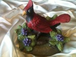 cardinal bird clay sculpture