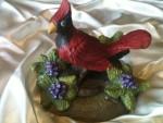 cardinal bird clay sculpture